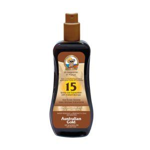 Sunscreen Australian Gold Spray Gel with Bronzer – SPF 15