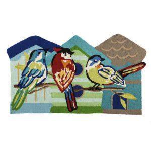 RUG HOOKED/SHAPED COLOURFUL BIRD
