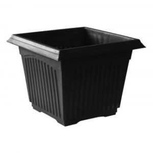 BLACK FLUTED SQUARE PLANTER