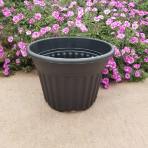 BLACK RIBBED BELL PLANTER