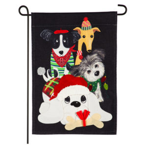 BURLAP CHRISTMAS DOGS FLAG