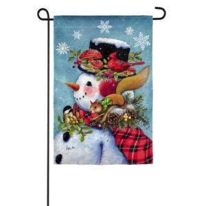 SNOWMAN PERCH – GARDEN FLAG