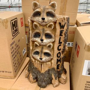 RACCOONS STACKED with WELCOME SIGN